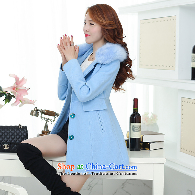 Lau in the statement made by the long hair for Korean windbreaker winter clothing a wool coat SA SKYBLUE聽M