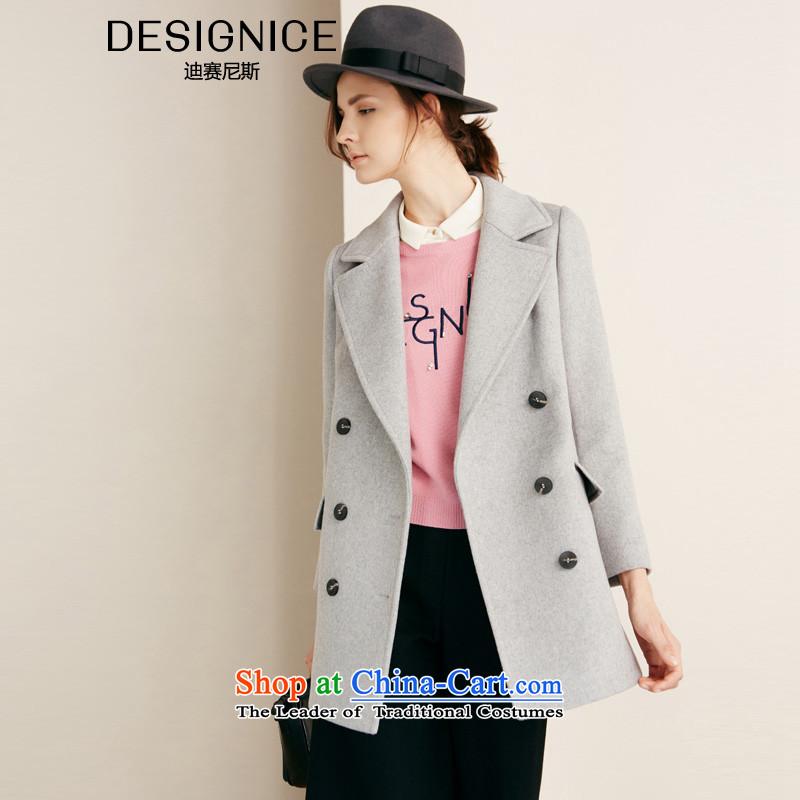 Dissais Nice Korean female jacket? gross han bum stylish graphics thin double-long coatsQuan Zheng Chao Gang Ao Tai Zi 0058folder)? Spend grayS