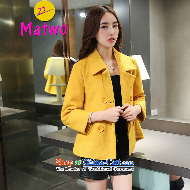 Gross? female jacket matwo Korean short) 2015 autumn and winter New Sau San video thin double-a wool coat female jacket &W1023 short of female yellow PUERTORRICANS video thin Sau San)