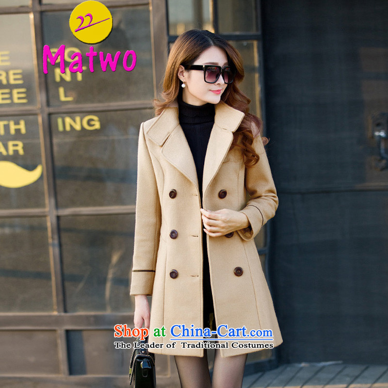 ?Cashmere overcoat female Korean matwo version? In gross jacket long thick ni-coats of Sau San wind clothes MA1078 card its?M Sau San_