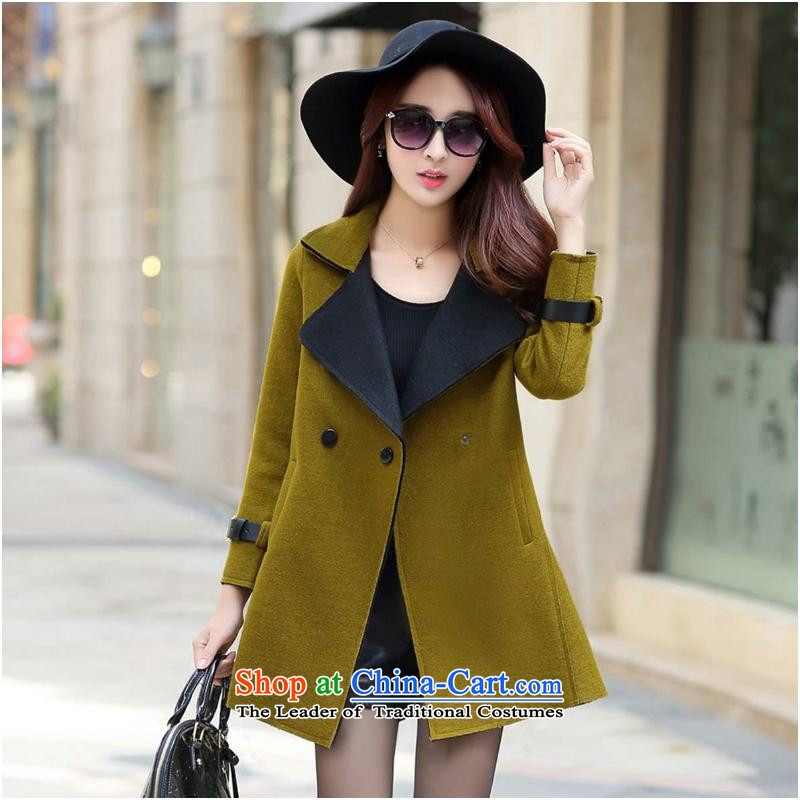 Sin has�15 winter new Korean long-sleeved jacket is     gross in long double-equipped for a gross green with hairs for燤