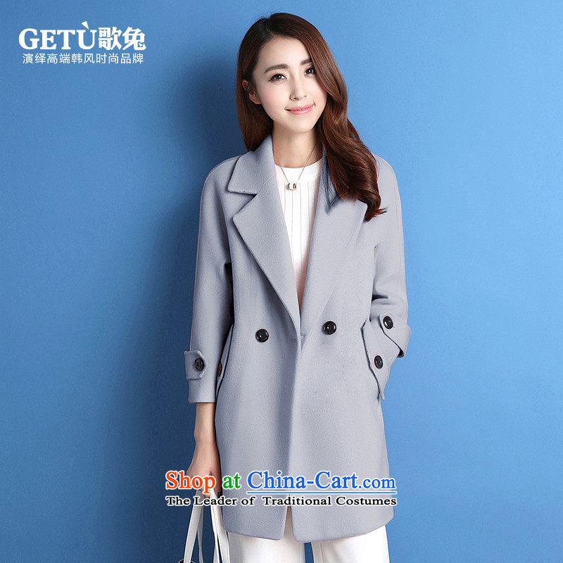 Song and 2015 gross jacket female medium to long?_ Winter Han Version fitted with large number of Sau San Winter Female fitting wool a wool coat light gray S