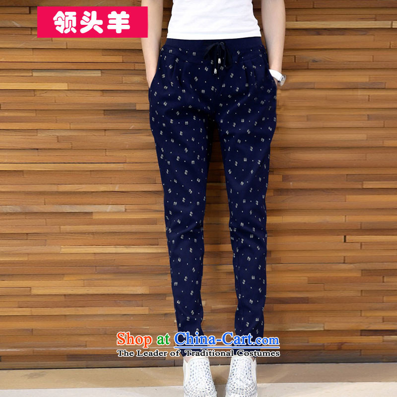 Leader in2015 autumn and winter new code of ladies' pants increase to wear the trousers MM200 Thick mat bungees thickened the catty lint-free video skinny legs trousers female navy5XL recommendations 180-190catty
