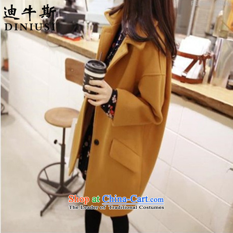 The achievement of the 2015 autumn and winter new Korean trendy code in women's long hair? turmeric yellow jacket L