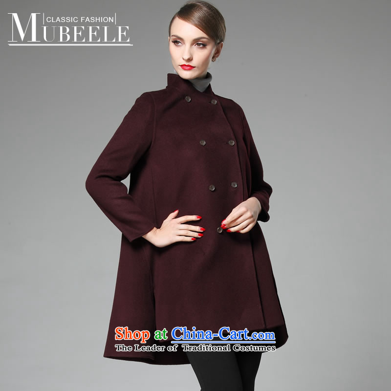 2015 Autumn and winter new double-side cashmere overcoat girl? a gross wool coat in the long dark red燲L