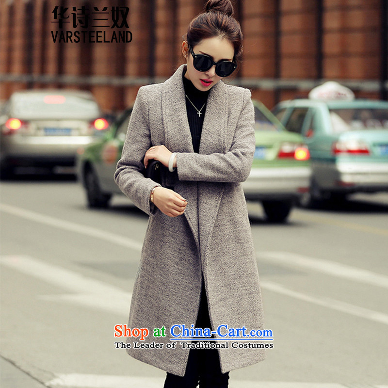 China, slave�15 autumn and winter for women on the new roll collar jacket coat? Korean girl in Sau San long large thick hair a wool coat female Z3 gray燤