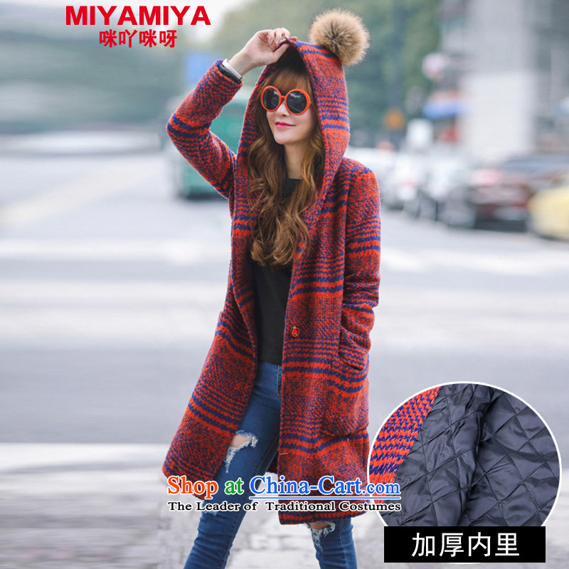 Wool Coat Korea MIYAMIYA? version 2015 new female autumn and winter long temperament Sau San a wool coat female red cravat and thick M