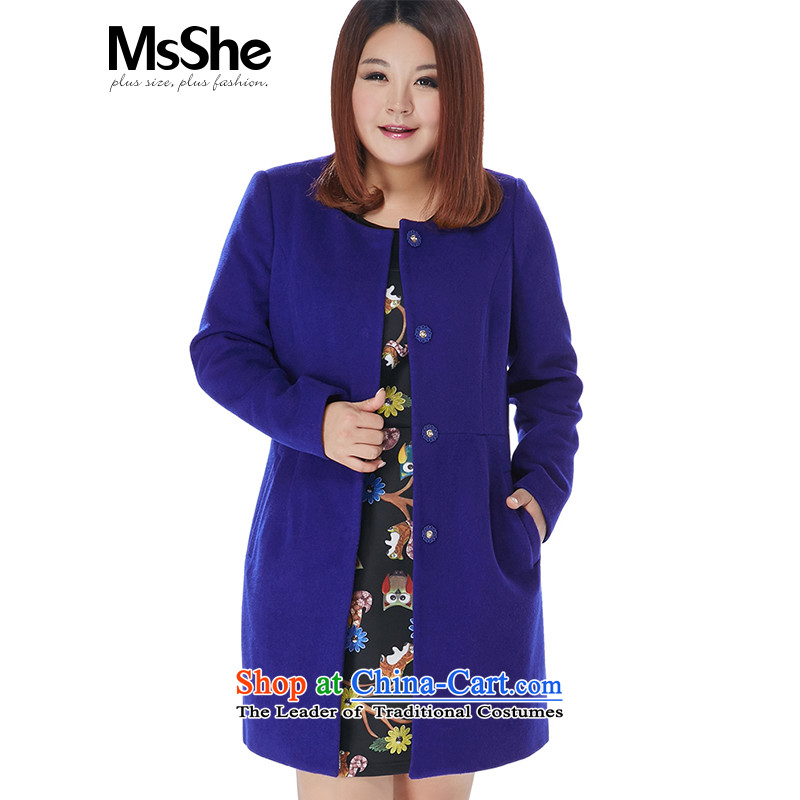 Msshe xl women 2015 new winter coats of 45_ wool? long thick pre-sale 10919 blue 3XL- pre-sale to arrive at 12.10