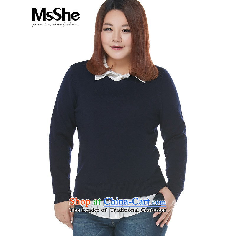 Large msshe women 2015 new winter clothing 100_ wool sweater, forming the MM thick blue 3XL 11165 Shirt