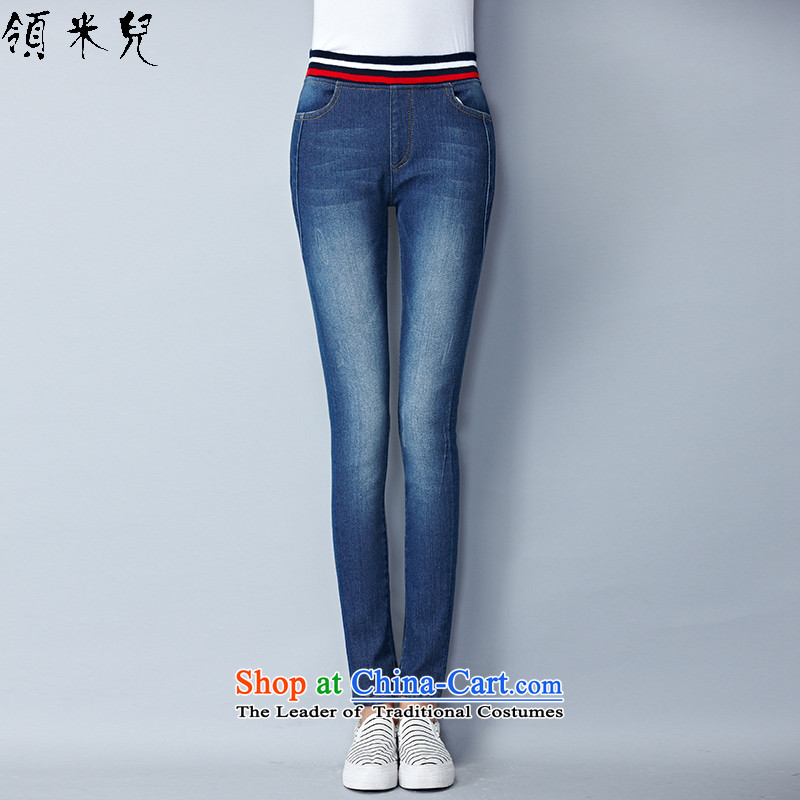 For M- Large 2015 Fall/Winter Collections for women to new xl elastic waist Stretch Wool Pants plus extra thick jeans Y1341 3XL Denim blue