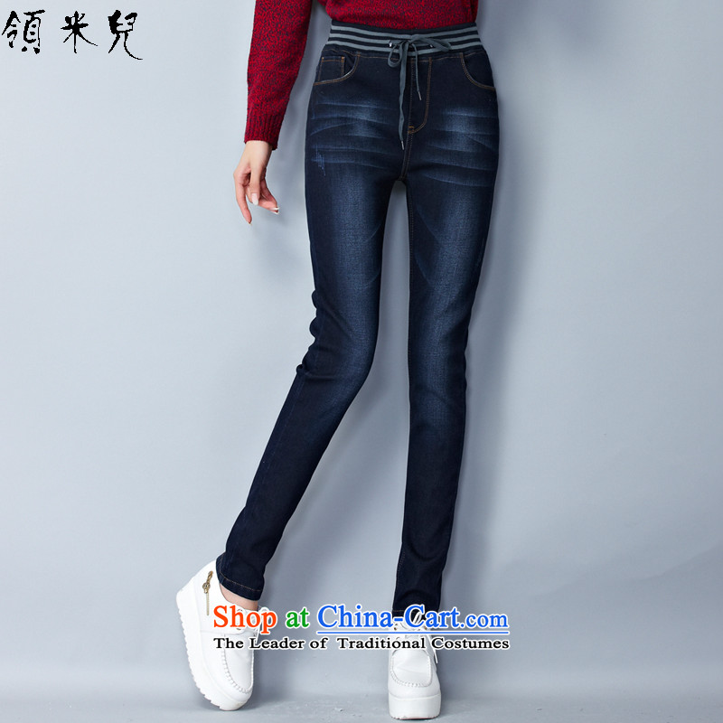 For M-燣arge 2015 Fall_Winter Collections for women to new xl elastic waist add lint-free video thin stretch jeans thick Y1343�L deep blue trousers