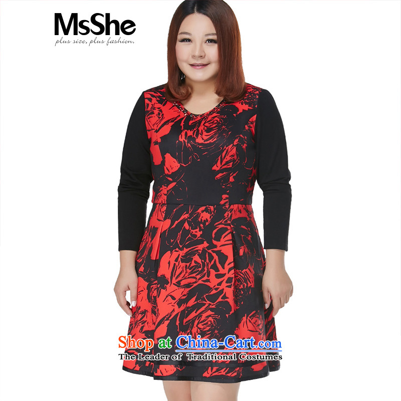 Msshe xl women 2015 new winter clothing nail pearl creases thick MM dresses - 10,567 black�L Safflower