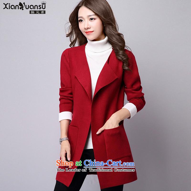 Hizze 2015 autumn and winter knitwear LADIES CARDIGAN gross Korean female jacket is relaxd in female jacket sweater long wool cardigan gross? female red cloakM