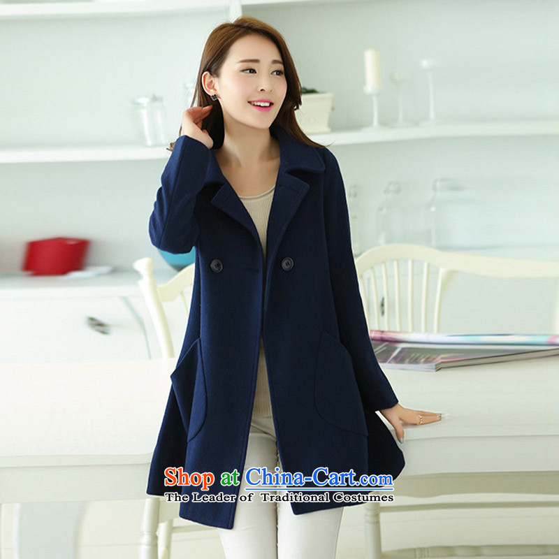 In the autumn of Yue new graphics in Sau San long thin lapel gross? jacket color navy XXXL SA