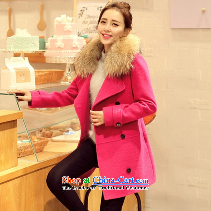 In the�15 Winter Olympics Yue Load New England in long-double-thick cotton plus gross? coats collar Nagymaros SA in the red燣