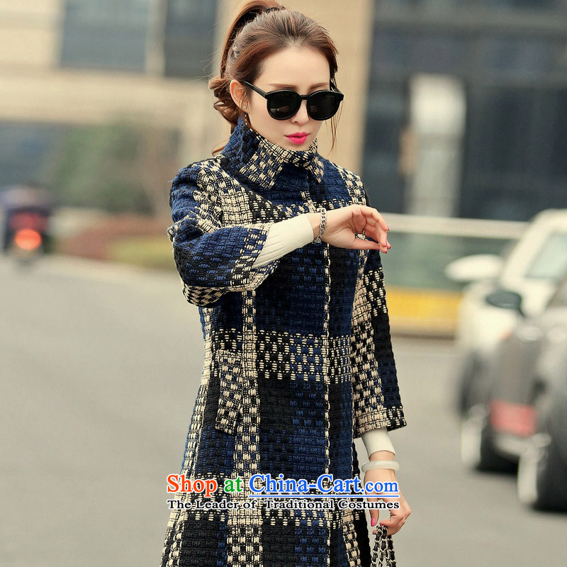 In�15, at the autumn and winter new Korean version in the Sau San long 7_rough flower gross coats燬A爊avy? S 3XL