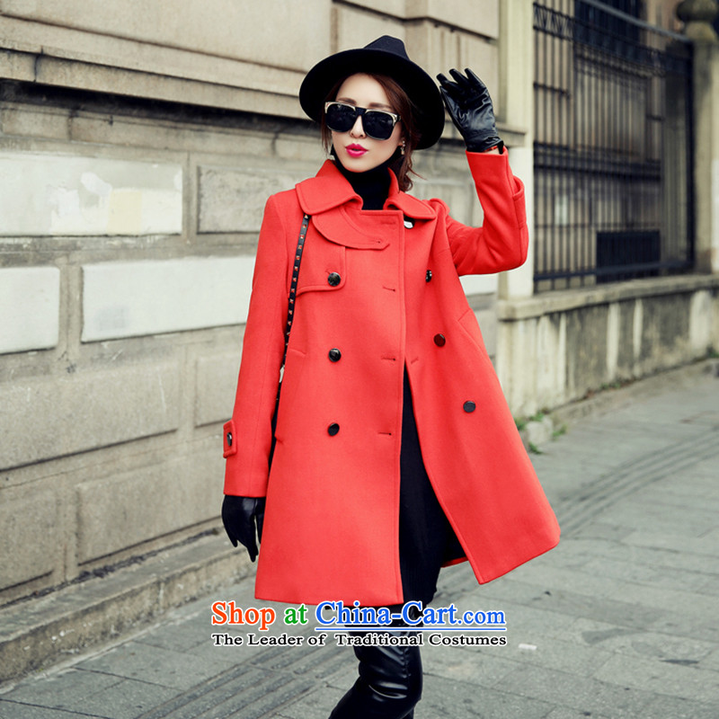 In the autumn and winter Yue new double-Stylish coat SA gross? red XL