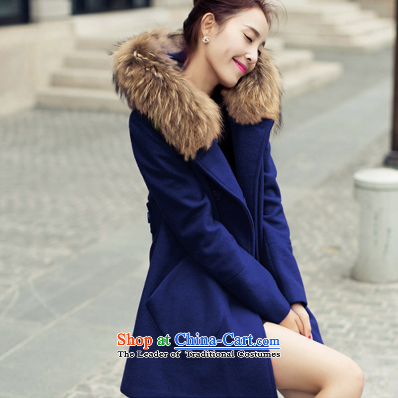 In the autumn and winter Yue new goddess van gross? double-jacket Korean version of female overcoat聽SA聽navy聽L