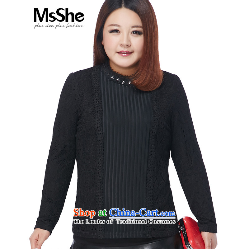 Msshe xl women 2015 winter clothing, forming the new Netherlands brushed Lace Up Pre-sale 10709 Black 4XL- pre-sale to arrive at 12.10