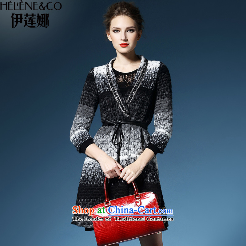 El Nina 2015 autumn and winter new a wool coat girl in long wool coat thick seven? cuff female S_155 Gray