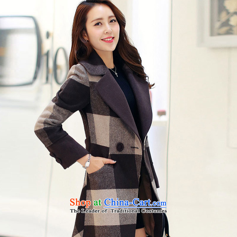 In the new paragraph Yue female grid gross?   Korean coats of large jacket? windbreaker SA- 2XL
