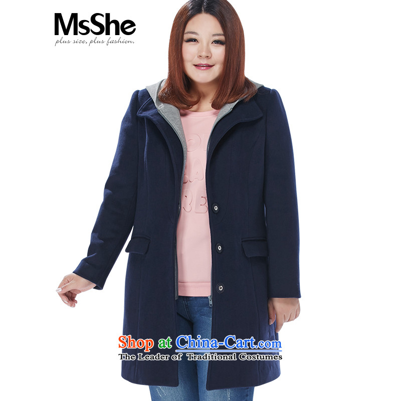 Msshe xl women 2015 new winter clothing removable cap thick MM Gross? Long 10979 butted blue聽XL