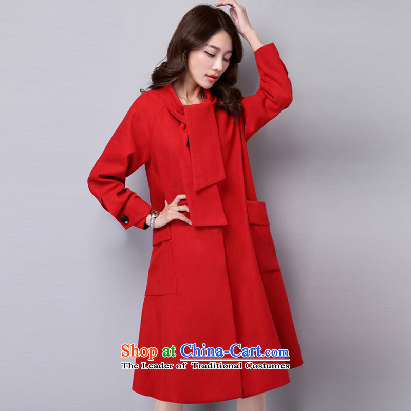 Equipment large relaxd casual clothing large arts long wool coat red XL?