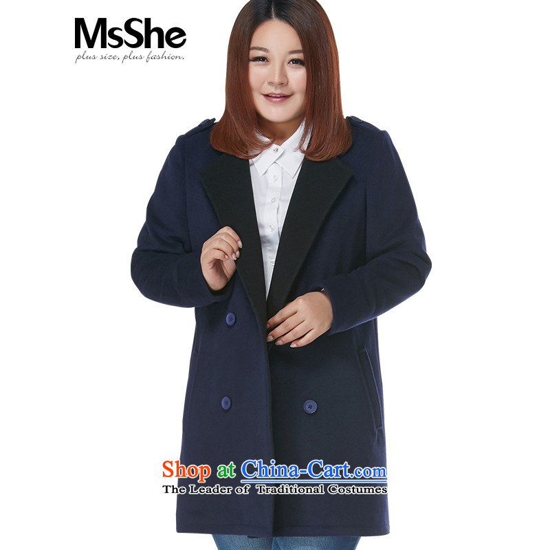 Msshe xl women 2015 new winter clothing thick MM warm in the long hair? 10915 jacket coat thick blue4XL
