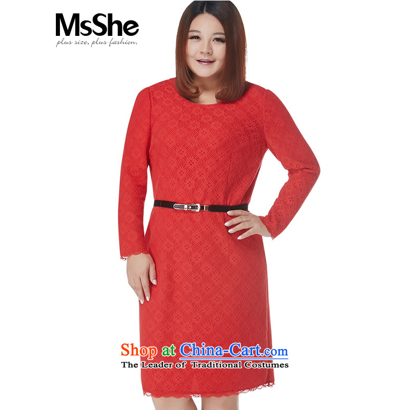 Msshe xl women 2015 new winter clothing thick MM lace dresses 11159 5XL red