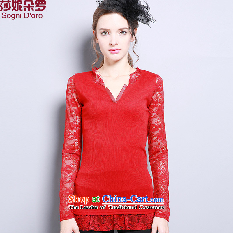 Shani flower lo xl women fall inside the new V-Neck lace stitching knitted T-shirt 13289 Red�L- pre-sale within 3 days of the Shipment