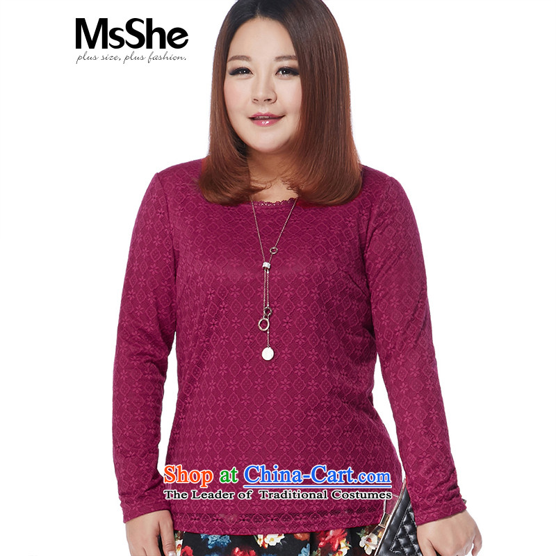 Large msshe women 2015 new winter plus lint-free thick thick MM lace forming the Netherlands 11066 4XL Magenta