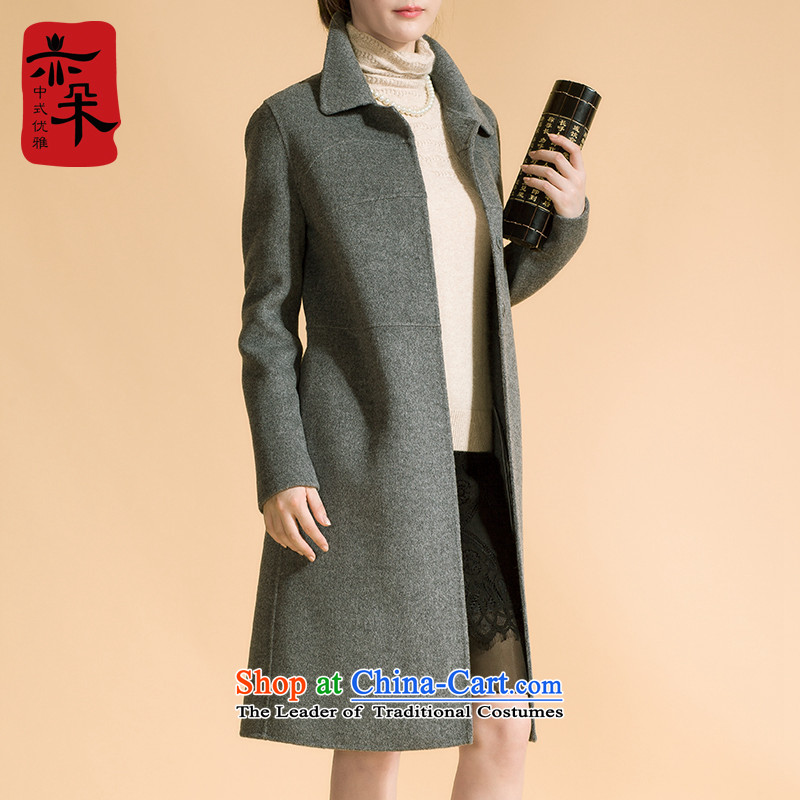 2015 Autumn and winter new double-side high-end gross girls jacket? long wool coat? a jacket Reed Sau San Gray燣