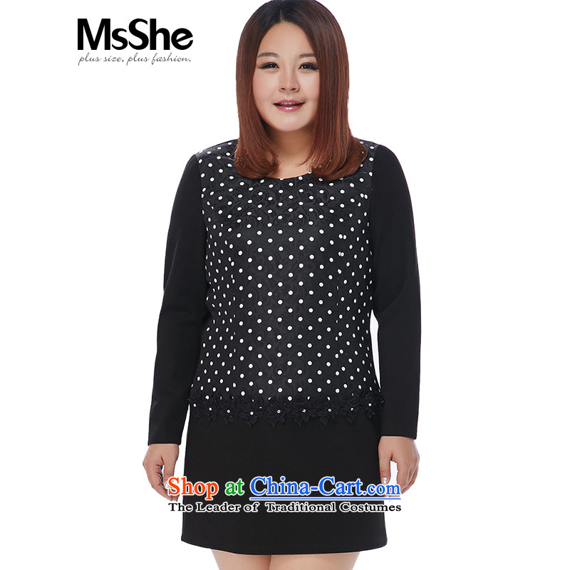 Large msshe women 2015 new winter clothing thick sister wave point round-neck collar Dress Shirt 10800 Black Spots6XL