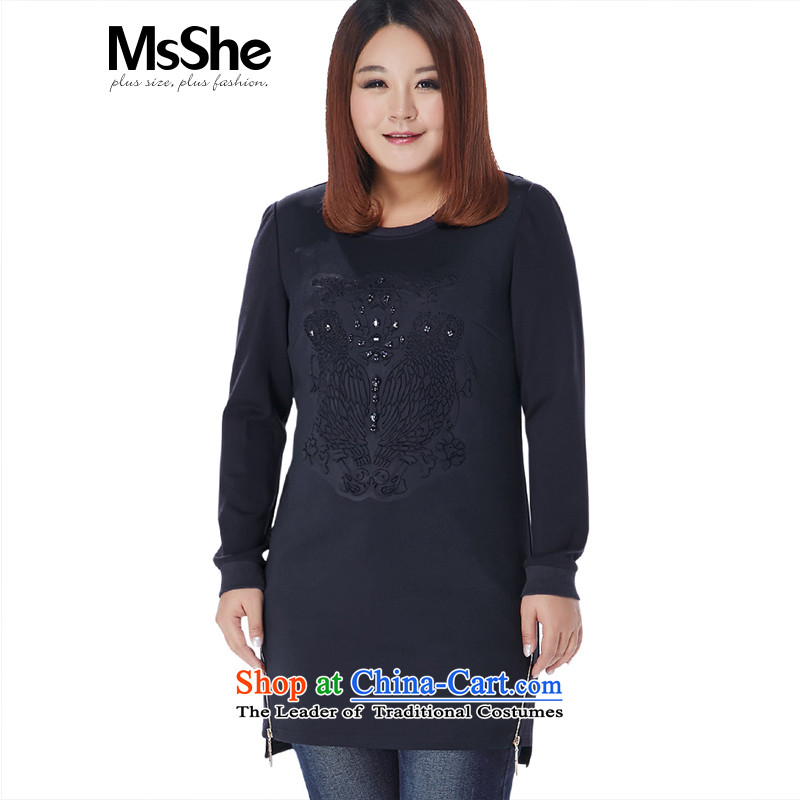 Msshe xl women 2015 new winter clothing in mm long, thick embossing sweater it stood at 11 091 Blue�L