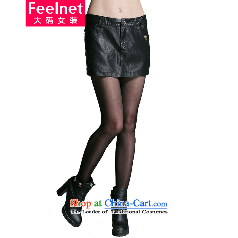 Thick mm to feelnet xl women fall inside the Korean version of winter clothing in Europe thin leisure PU leather pants shorts to subscribe for a large black 2XL code