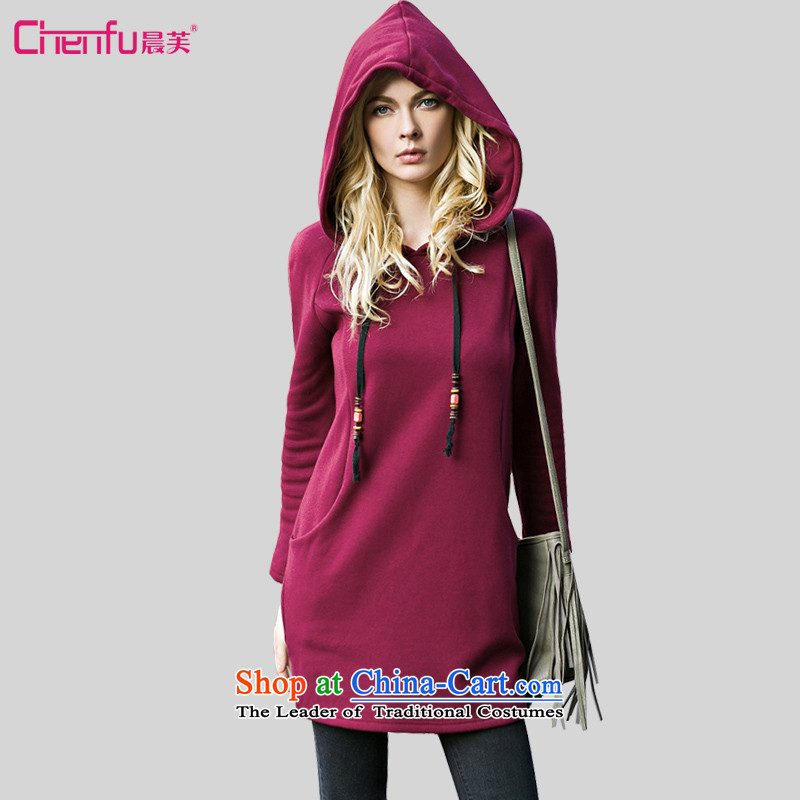 Morning to 2015 autumn and winter winds New Europe and the Code women plus warm thick wool sweater pure color wild fashion, long cap sweater Red�L爎ecommendations 171-185 catty