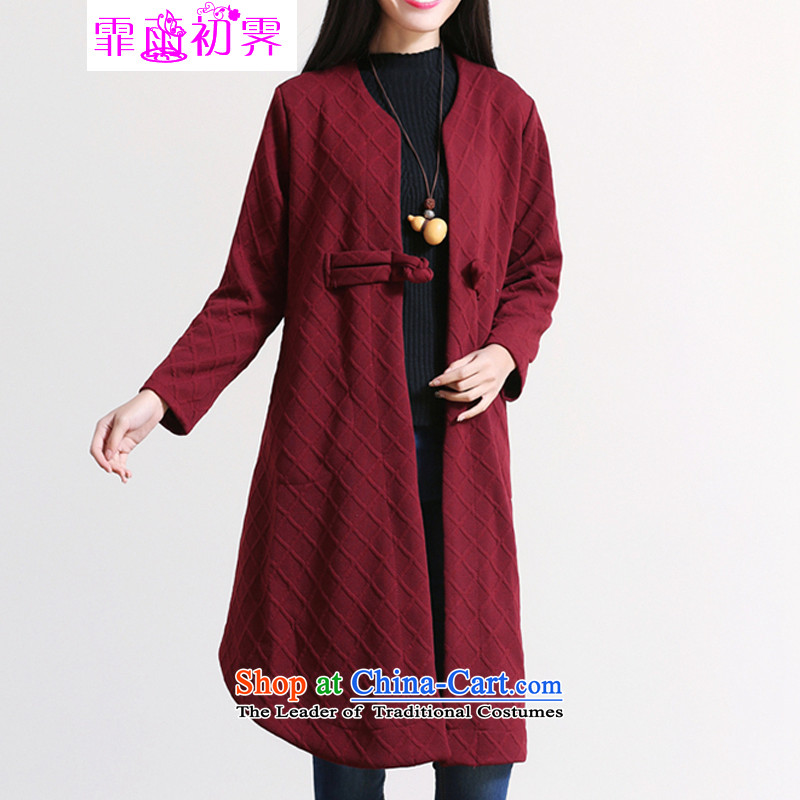The beginning of the rain. Arpina ji 2015 autumn and winter new Korean version of large numbers of ladies rattled the lock up pressure in the Netherlands long long-sleeved sweater 583 wine red?XL