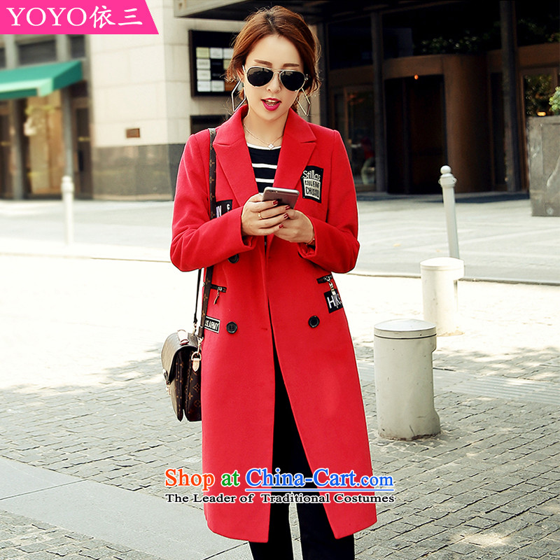 The YOYO optimization with 2015 Winter stylish letters label in the long hair of Sau San? V1761 jacket coat red S