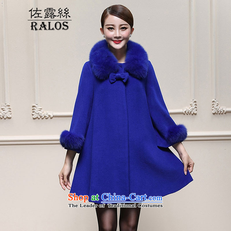 The new 2015 ralos Fall/Winter Collections wool a cloak large jacket in long coats 8016 Royal Blue L