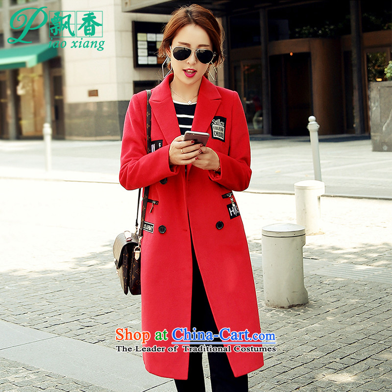 Scented Winter 2015 letter label   fashion in the long coats jacket V1761 gross? red S