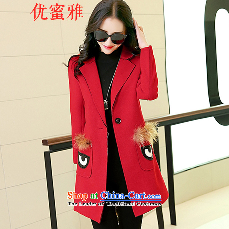 Optimize Honey Nga gross? 2015 autumn and winter coats girl who decorated large roll collar in long hair? female Korean jacket warm a wool coat RED燤