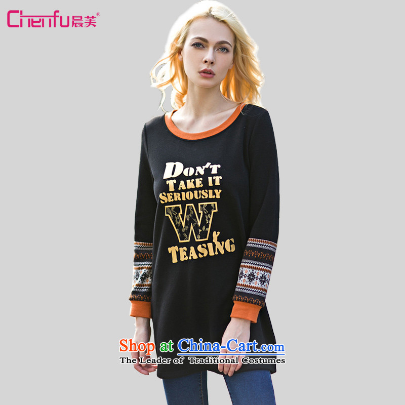 Morning to 2015 autumn and winter new larger female Western Wind stitching sweater thick mm letter stamp neck long stylish black sweater L recommendations Glossy 111-125 catty