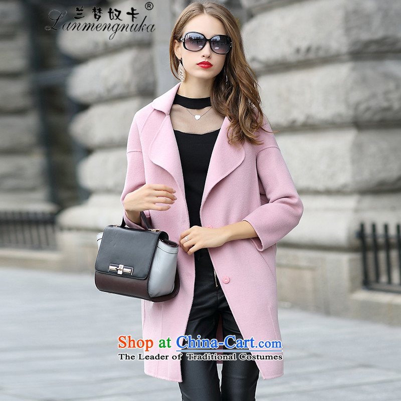 Lan card 2015 slavery dream new two-sided cashmere overcoat, long double-side coats western-wool? jacket cocoon female pink S