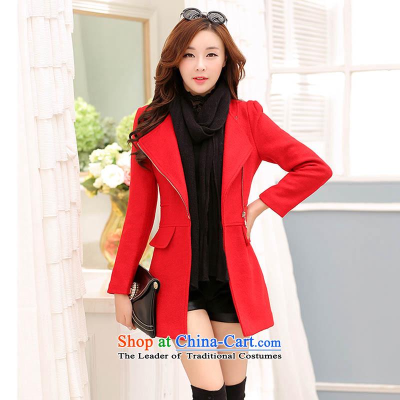 Happy Times _??????_ 2015 autumn and winter new women's new Korean Sau San warm jacket coat? largest gross red燣