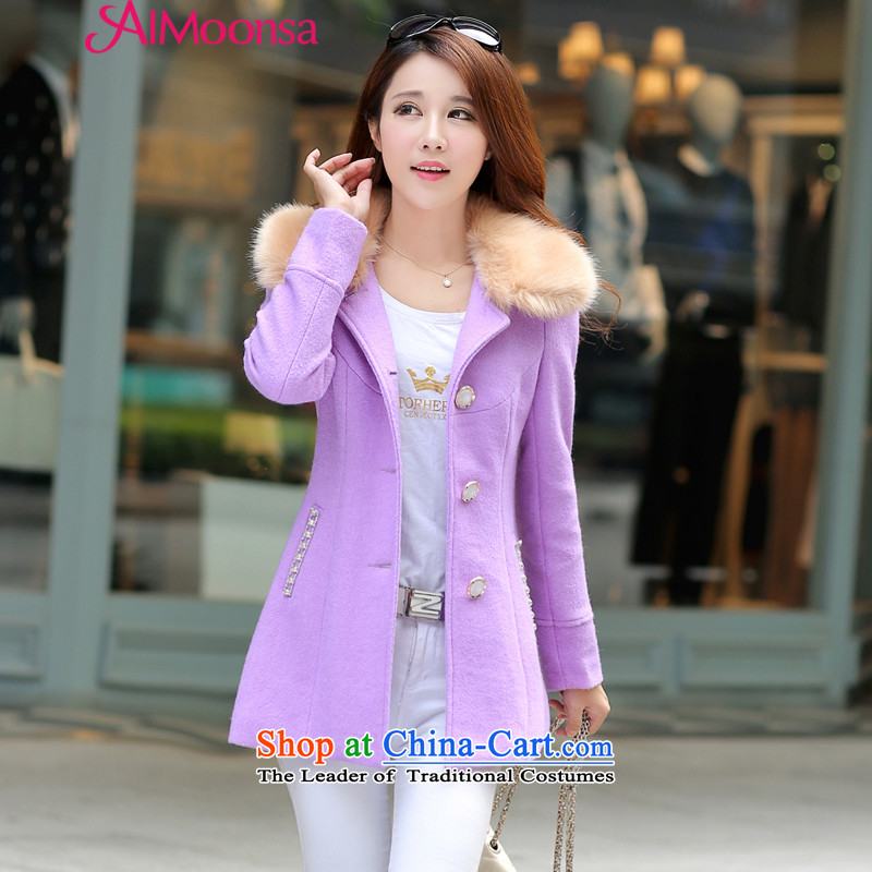 ?Single Row clip hair aimoonsa jacket female thickened? 2015 winter clothing new Korean version of large numbers of women who are in long hair? coats gross collar purple?XXL