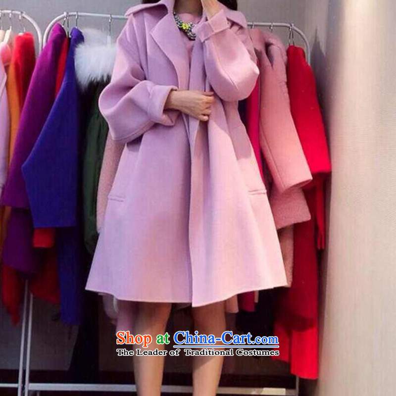 2015 Fall_Winter Collections of Korean women's large Fat MM loose, Hin thin, thick coat thick sister 200 catties, long thick a wool coat jacket violet燲XXXL gross?