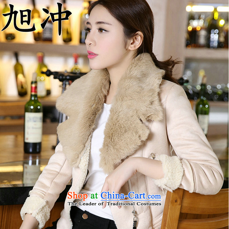 Xu Chong-thick 2015 Ms. new boutique Fall_Winter Collections OL temperament and stylish new luxury products really rabbit hair quality Gross Sau San overcoats? apricot燲XL