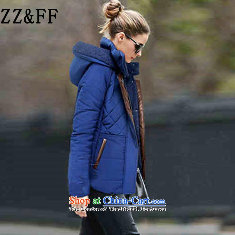 The new winter 2015 Zz_ff Western liberal large cap feather ãþòâ female cotton coat jacket female robe 2157BlueXXL