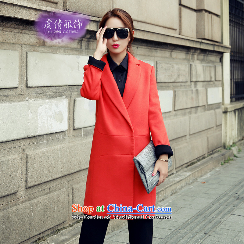 Yu Chien YQ 2015 autumn and winter new products Sau San video thin a wool coat jacket Y338 RED聽XL