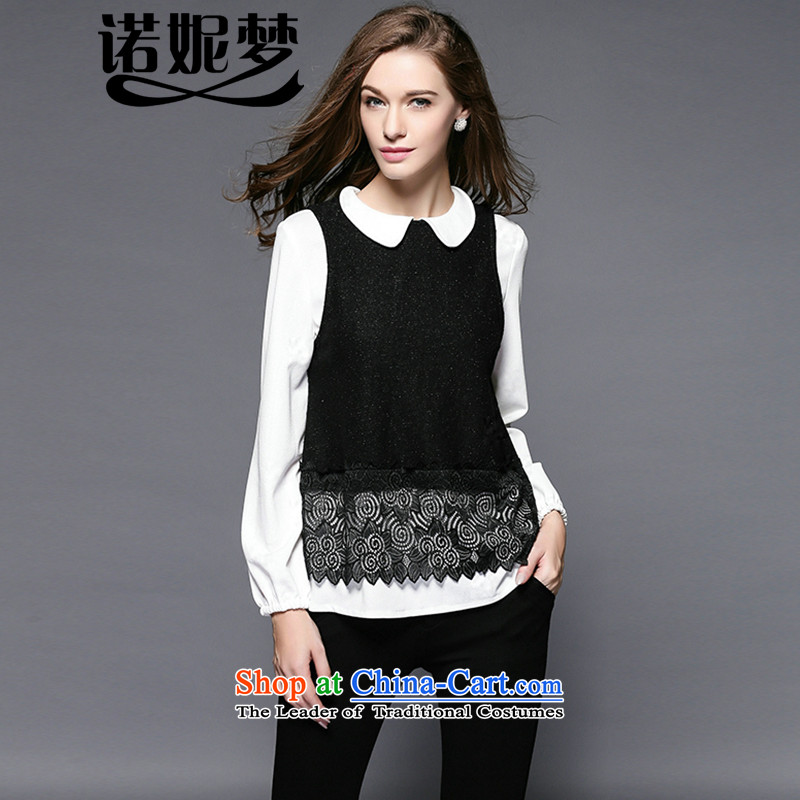 The maximum number of Europe and Connie Women 2015 Fall_Winter Collections new fat mm temperament dolls collar lace stitching two kits long-sleeved shirt female clothes y3478 picture color燲L